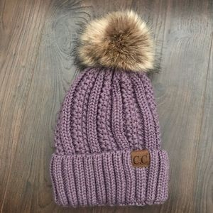 NWOT C.C Light Purple Knit Beanie w/Fuzzy Inside